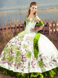 Cute Off The Shoulder Sleeveless Satin Quinceanera Dress Embroidery Lace Up