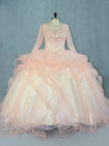 Dramatic Tulle Scoop Long Sleeves Lace Up Beading and Ruffles Quinceanera Dress in Peach