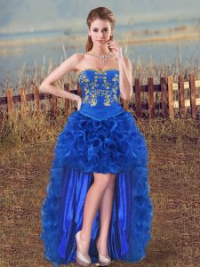 Sleeveless High Low Embroidery and Ruffles Lace Up Prom Dress with Royal Blue