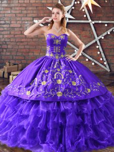 Eye-catching Purple Ball Gowns Embroidery and Ruffled Layers 15th Birthday Dress Lace Up Satin and Organza Sleeveless Floor Length