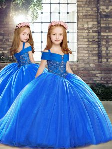 Royal Blue Straps Neckline Beading Pageant Dress for Girls Sleeveless Lace Up