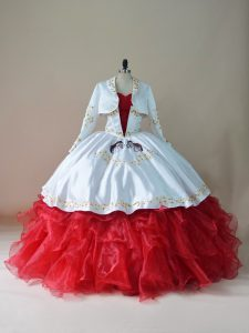 Adorable Sleeveless Organza Floor Length Lace Up Vestidos de Quinceanera in White And Red with Embroidery and Ruffles