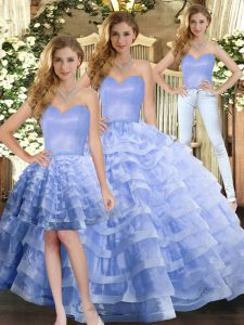 Cheap Lavender Organza Lace Up Sweetheart Sleeveless Floor Length Sweet 16 Dresses Ruffled Layers