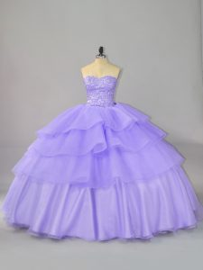 Modern Lavender 15th Birthday Dress Sweet 16 and Quinceanera with Beading and Ruffled Layers Sweetheart Sleeveless Lace Up