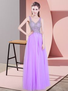 Sleeveless Floor Length Beading Zipper Pageant Gowns with Lavender
