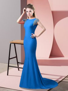 Unique High-neck Short Sleeves Evening Dress Brush Train Beading Blue Elastic Woven Satin