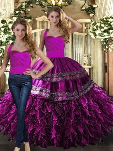 Delicate Fuchsia Halter Top Lace Up Embroidery and Ruffles Quinceanera Dresses Sleeveless