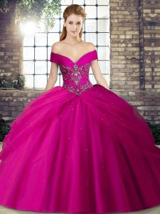 Lovely Tulle Off The Shoulder Sleeveless Brush Train Lace Up Beading and Pick Ups Quinceanera Dresses in Fuchsia