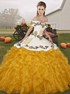 Fantastic Gold Quinceanera Gowns Military Ball and Sweet 16 and Quinceanera with Embroidery and Ruffles Off The Shoulder Sleeveless Lace Up