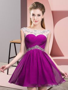 Mini Length A-line Sleeveless Fuchsia Prom Gown Backless