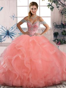 Peach Ball Gowns Beading and Ruffles Sweet 16 Dresses Lace Up Tulle Sleeveless Floor Length