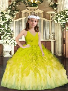Wonderful Olive Green Sleeveless Tulle Zipper Custom Made Pageant Dress for Party and Sweet 16 and Wedding Party