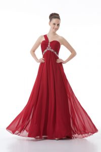 Luxury Red Sleeveless Chiffon Backless Dress for Prom for Prom and Party and Military Ball