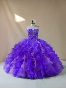 Customized Multi-color Ball Gowns Halter Top Sleeveless Organza Floor Length Lace Up Beading and Ruffles Quince Ball Gowns