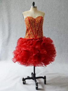 Beauteous Wine Red Lace Up Sweetheart Beading and Ruffles Prom Homecoming Dress Organza Sleeveless