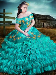 Fabulous Aqua Blue Off The Shoulder Lace Up Embroidery and Ruffles Sweet 16 Quinceanera Dress Sleeveless