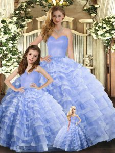 Fashion Sweetheart Sleeveless Organza Vestidos de Quinceanera Ruffled Layers Lace Up