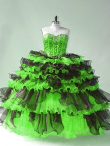 Fantastic Sweetheart Lace Up Beading and Ruffles and Ruffled Layers Sweet 16 Dress Sleeveless