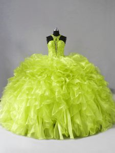 High Quality Yellow Green Sweet 16 Quinceanera Dress Organza Brush Train Sleeveless Beading and Ruffles