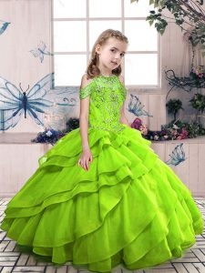 Ball Gowns Beading Evening Gowns Lace Up Organza Sleeveless Floor Length