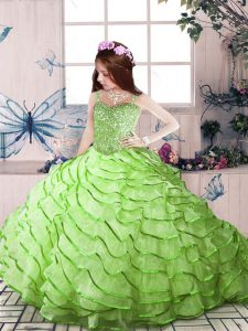 Straps Sleeveless High School Pageant Dress Court Train Beading and Ruffled Layers Organza
