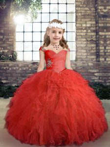 Attractive Red Side Zipper Custom Made Pageant Dress Beading and Ruffles Sleeveless Floor Length