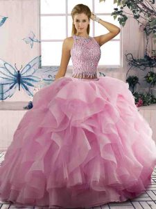 Admirable Scoop Sleeveless Quinceanera Gowns Floor Length Beading and Ruffles Pink Tulle