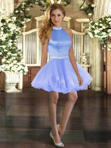 Low Price Blue Sleeveless Beading Mini Length Prom Evening Gown