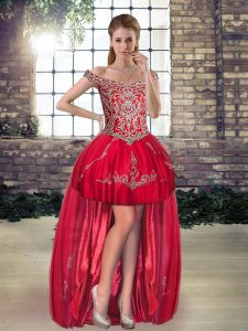 Captivating Red A-line Beading and Appliques Evening Dress Lace Up Tulle Sleeveless High Low