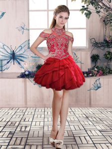 Fantastic Red Ball Gowns Organza Halter Top Sleeveless Beading and Ruffled Layers Mini Length Lace Up Red Carpet Prom Dress
