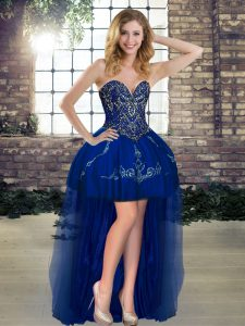 Beading and Embroidery Prom Gown Royal Blue Lace Up Sleeveless High Low