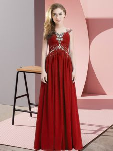 Most Popular Beading Dress for Prom Red Side Zipper Cap Sleeves Floor Length