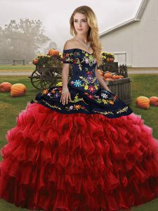 Vintage Sleeveless Lace Up Floor Length Embroidery and Ruffled Layers Quinceanera Gown