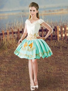 Enchanting Sleeveless Mini Length Embroidery Lace Up Dress for Prom with White