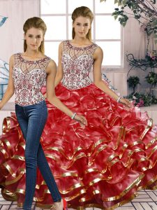 Top Selling Red Sleeveless Beading and Ruffles Floor Length Quinceanera Gown
