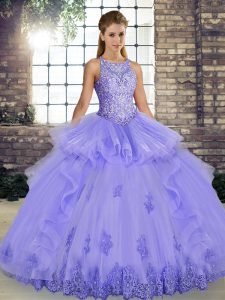 Sleeveless Lace Up Floor Length Lace and Embroidery and Ruffles Quinceanera Gowns