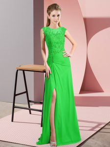 Green Lace Up Scoop Beading Homecoming Dress Online Chiffon Sleeveless