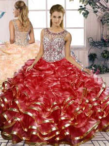 Artistic Sleeveless Beading and Ruffles Lace Up Sweet 16 Quinceanera Dress