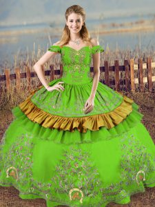 Green Lace Up Off The Shoulder Embroidery 15 Quinceanera Dress Satin Sleeveless