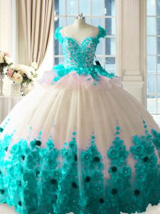 Tulle Sleeveless Sweet 16 Quinceanera Dress Brush Train and Hand Made Flower