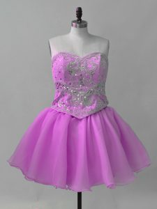 On Sale Lilac Organza Lace Up Sweetheart Sleeveless Mini Length Dress for Prom Beading