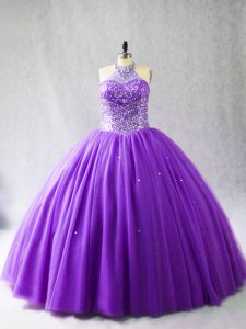 Purple Halter Top Neckline Beading Ball Gown Prom Dress Sleeveless Lace Up