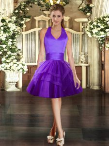 Tulle Halter Top Sleeveless Lace Up Ruffled Layers Celeb Inspired Gowns in Purple
