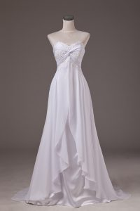 White Sleeveless Chiffon Sweep Train Lace Up Wedding Dress for Wedding Party