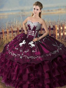 Purple Lace Up Quinceanera Gown Embroidery and Ruffles Sleeveless Floor Length