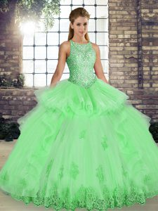 Latest Tulle Scoop Sleeveless Lace Up Lace and Embroidery and Ruffles 15 Quinceanera Dress in