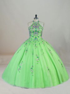 Lace Up 15th Birthday Dress Appliques and Embroidery Sleeveless Brush Train