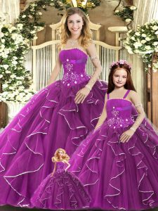 Floor Length Purple Quince Ball Gowns Strapless Sleeveless Lace Up
