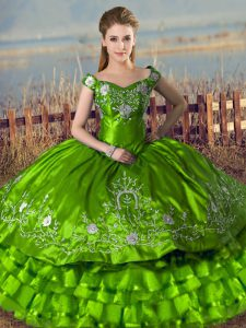 Green Off The Shoulder Lace Up Embroidery and Ruffled Layers Quinceanera Gown Sleeveless
