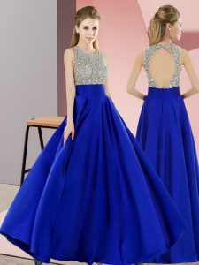 Sumptuous Floor Length Backless Royal Blue for Prom and Party with Beading